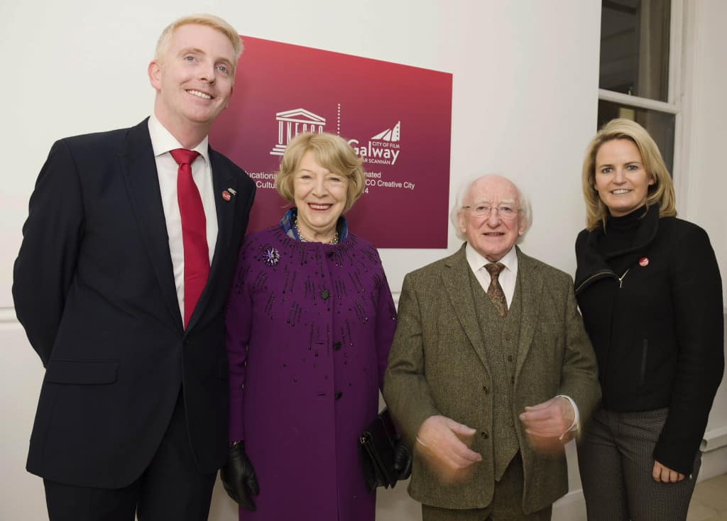 30/11/2015 repro free President Michael D Higgins was at Galway Film Centre where he received  honorary awards from Galway UNESCO City of Film for his outstanding contribution to Galway Film and Television industry.  At the event was the first lady Sabina Higgins and Derek Nolan TD and Senator Lorraine Higgins . Photo:Andrew Downes.