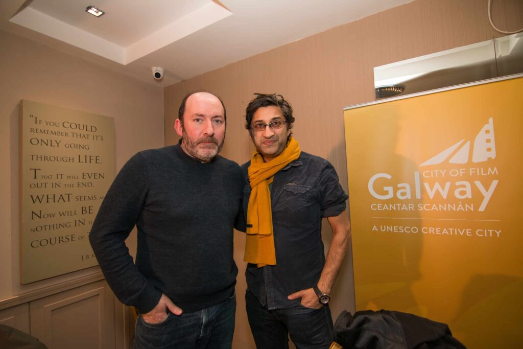 Left to right: Pat Collins and Asif Kapadia at the Galway Film Centre's annual two day  Film and TV Seminar Talking Documentary in the Harbour Hotel Galway  which featured Oscar nominated Director Asif Kapadia of AMY and Bafta nominated documentary A Syrian Love Story with Sean Mc Allister www.galwayfilmcentre.ie    Photos by Matt Kavanagh