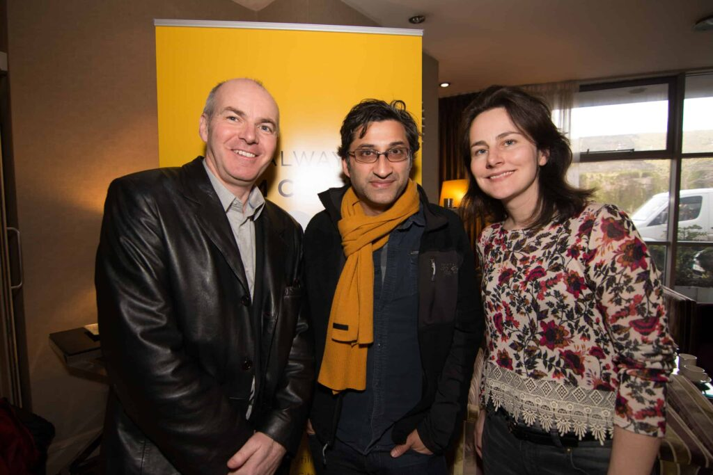 Left to right: Declan Gibbons, Asif Kapadia and Mary Deely at the Galway Film Centre's annual two day  Film and TV Seminar Talking Documentary in the Harbour Hotel Galway  which featured Oscar nominated Director Asif Kapadia of AMY and Bafta nominated documentary A Syrian Love Story with Sean Mc Allister www.galwayfilmcentre.ie    Photos by Matt Kavanagh