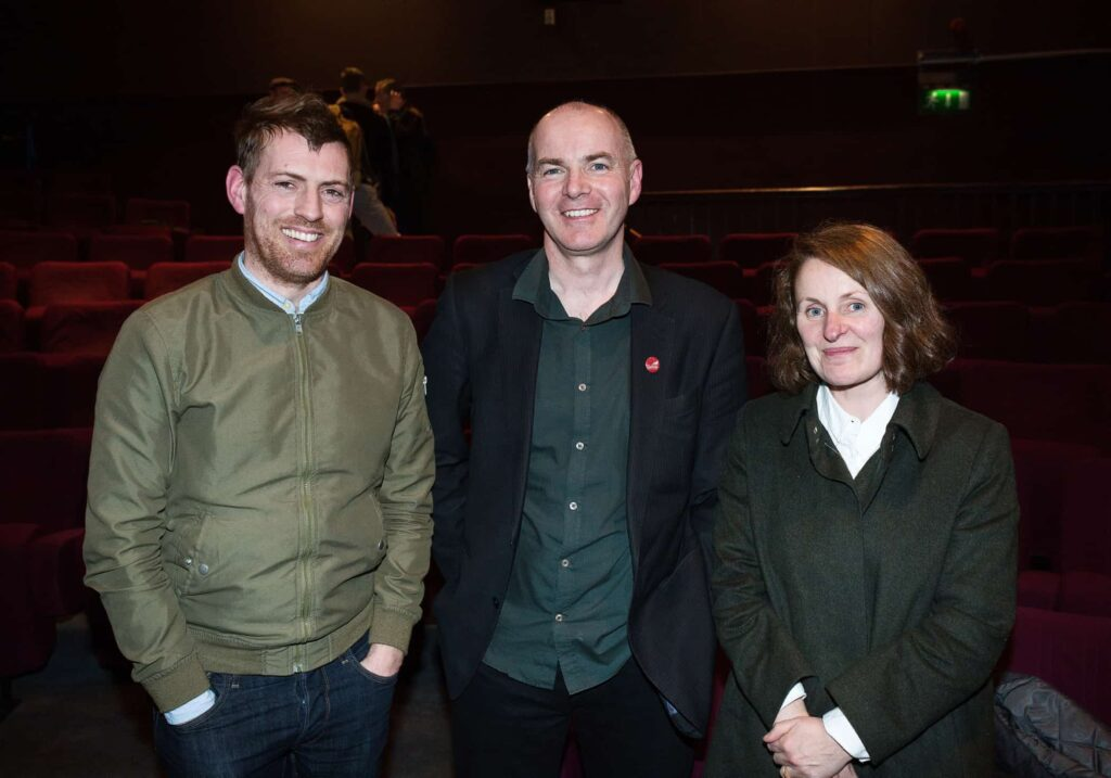 NO REPRO FEE / Press Use Splanc! 2016 short films commissioned by the Arts Council and TG4, in partnership with the Galway Film Centre, which will be broadcast on TG4 over the Easter weekend were launched last night in the IFI Pictured: L-R Adrian Duncan, Declan Gibbons, Galway Film Centre and Sharon Whooley Mandatory Credit: 1IMAGE/Bryan Brophy Following the premiere at the Irish Film Institute on 14th of March, seven of the Splanc! 2016 short films commissioned by the Arts Council and TG4, in partnership with the Galway Film Centre, will be broadcast on TG4 over the Easter weekend. This is a special edition of the Irish-language documentary scheme in which film artists provide their creative responses to the legacy of 1916 in the arts in Ireland Media Contact:  Linda Ní Ghríofa  linda.ni.ghriofa@tg4.ie 091-505228  1IMAGE PHOTOGRAPHY Studio: +353 1 493 9947 / Mob: +353 87 246 9221 1image.ie
