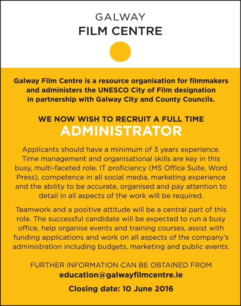 GFC Recruitment ad - Administrator aw