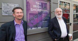 Felim MacDermott & Mick Hannigan outside An Taibhdhearc