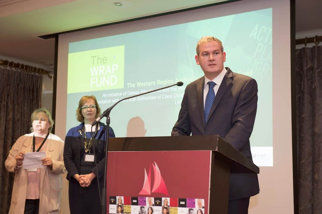 12/10/2017 retro free: Minister Sean Kyne with Geraldine McLoughlin, Investment Executive, Western Development Commission and Celine Curtin, Chairperson of Galway City of Film launching the new WRAP (Western Region Audiovisual Producer's) Fund at the Fís TV Summit.   The New €2m film fund will encourage film, TV and game industry in the West of Ireland (WRAP Fund to cover the film, TV, animation and game sectors The €2m fund will run over a three-year period and Aims to create 90 direct jobs in the Western Region.  Photo:Andrew Downes, xposure