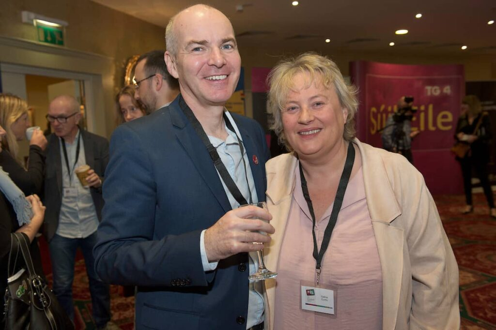 12/10/2017 Galway Film Centre's Declan Gibbons and Celine and Curtin Galway City of Film at  the Fís TV Summit in Galway . Photo:Andrew Downes, xposure