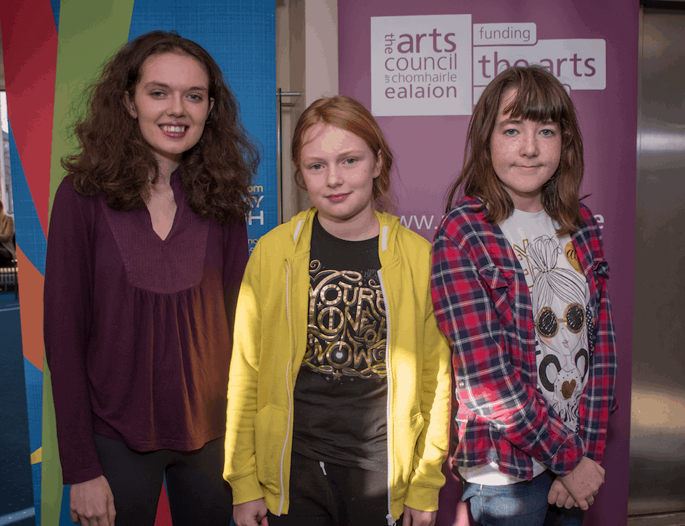 Honor Faughnan (16) of Dominican College, Taylor's Hill with Aisling Steward and Saoirse Dempsey (both 11) from Kilcolgan Educate Together